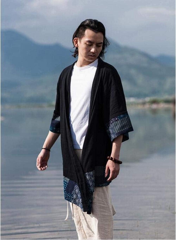 FWJSDPZ Kimono Cardigan Men Japanese OBI Male Yukata Men S Haori Japanese Samurai Clothing Traditional Japanese Clothing (Color : Black, Size : L)