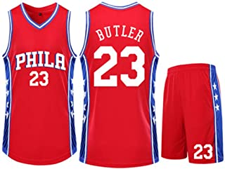 Basketball Clothing Suit Philadelphia 76Ers 23# Jimmy Butler Jersey Sleeveless Vest Sports Shorts Suit Training Competition Casual Sweatshirt,Red,2XS