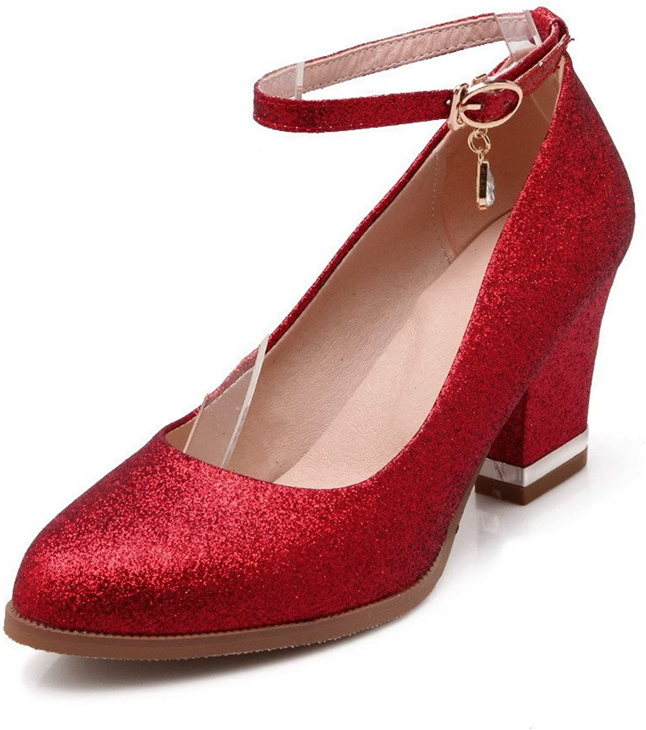 AmoonyFashion Women's Buckle Round Closed Toe High Heels Blend Materials Solid Pumps-shoes