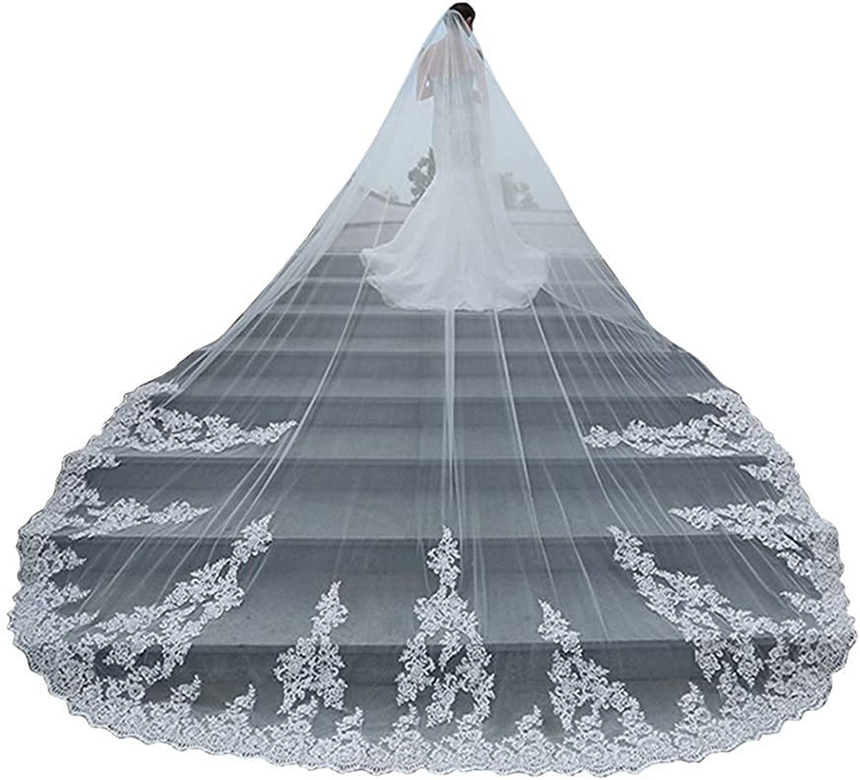 EllieHouse Women's Long Lace Wedding Bridal Veil With Comb S74