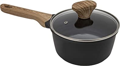 Country Kitchen Cookware Cast Aluminum Saucepan, 2 Quart, Non Stick Pan with Lid, For Gas, Electric, Induction Cooktop (Ma...