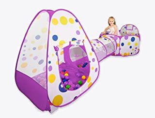 FoxPrint Foldable 3Piece Kids Play Tent - Toddler Pop Up Play Yd - Includes Pop Up Play Tent, Kids Play Tunnel & Sensory Ball Pit Ring with Basketball Hoop - Balls not Included