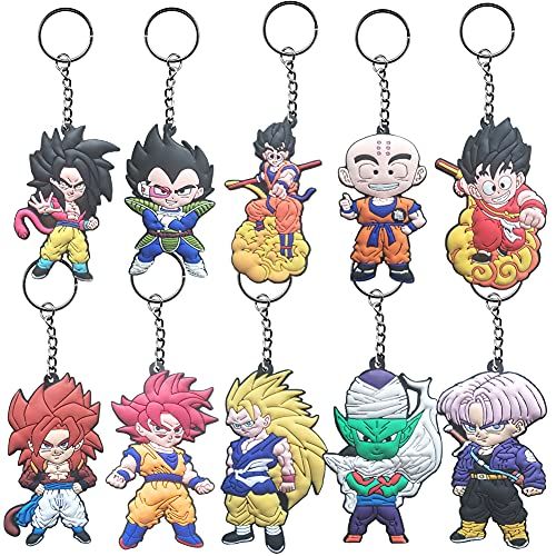 CBOSNF 10 Piezas Anime Dragon Ball Llaveros Accesorios Decoraciones Anime Domain Llavero Dragonball con Multicolor Figura