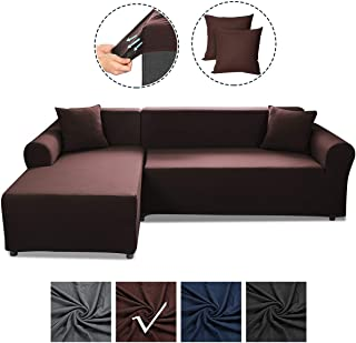 SAFETYON Sofa Slipcover, Sectional Couch Covers 2-Piece, Reversible Sofa Cover Furniture Protector Stretch Couch Slip Cover with Elastic Bottom (Coffee)