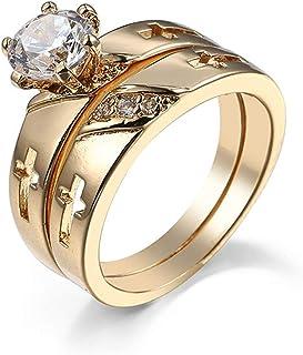 Daesar Anelli Donna Fidanzamento, Anelli Donna Fidanzamento Oro Giallo 18K Placcato Croce con Due Anelli Rotonda Anello Fi...