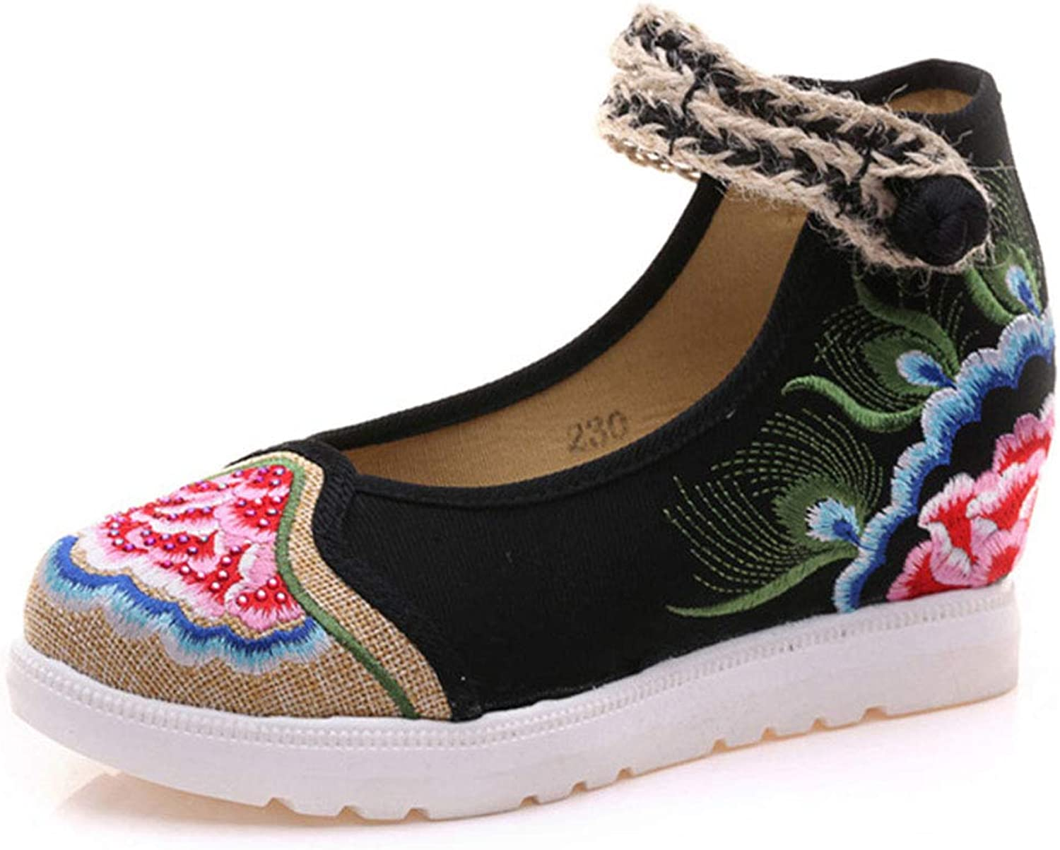 Women's High Heeled Embroidered shoes Fashion Wedge shoes National Wind Breathable Casual Cloth shoes (color   Black, Size   38)