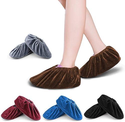FOCCTS 5 Paires Surchaussures lavables couvre-chaussure anti glisse Réutilisables Antidérapant Chausson avec Flanelle...