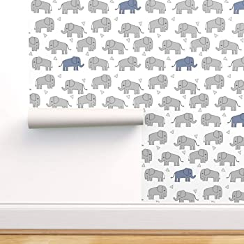 Spoonflower Peel And Stick Removable Wallpaper Elephant Elephants Baby Boy Nursery Print Self Adhesive Wallpaper 24in X 108in Roll Amazon Com