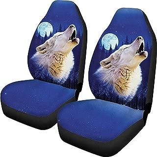 CLOHOMIN Moon Wolf Pattern Car Seat Covers Universal Truck SUV Van Cushion Mat 2 Pieces