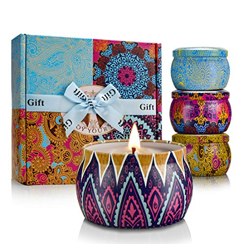 Candle Gift Set, Gift for Women Soy Candle Bohemian Style 4.4 Ounces Travel Tin Scented Candle for...