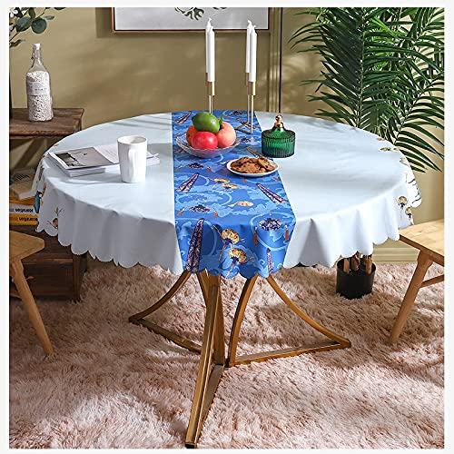 Manteles redondos para limpiar, moderno, chino, patrón de puntas, mantel de hule, cubierta de mesa, mantel de PVC resistente a las manchas, decoración de mesa navideña para comedor, fiesta e