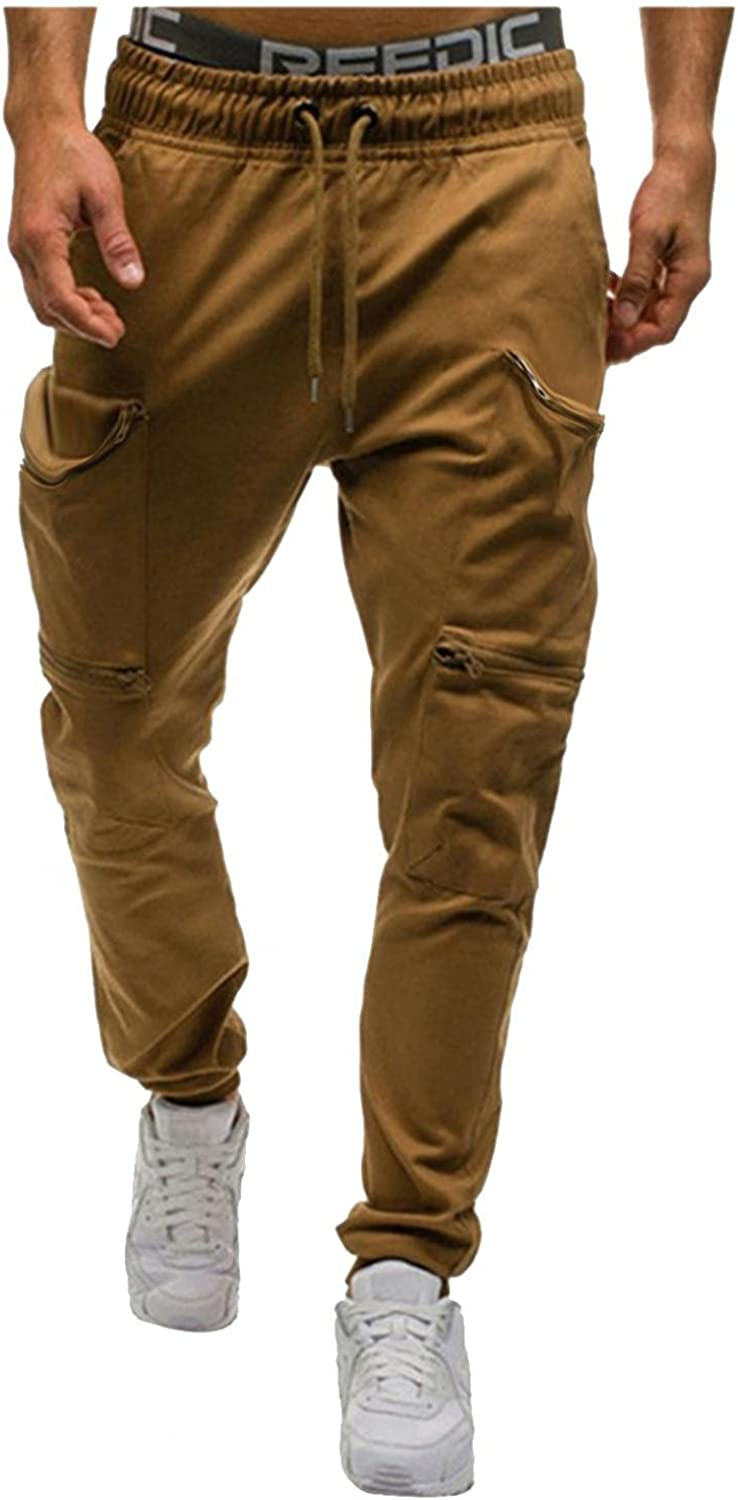 Athletic Running Jogging Sweatpants for Mens with Elastic Drawstring Lightweight Slim Solid Cargo Trousers