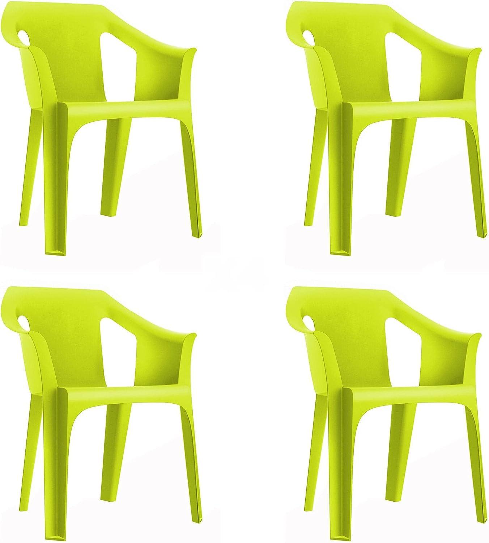 RESOL Cool Set 4 Sillas de Jardín con Reposabrazos Apilable | Terraza, Patio, Exterior, Comedor, Reuniones | Diseño Moderno Ligera y Resistente Filtro UV - Color Verde Lima