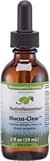 NativeRemedies Mucus-Clear - Natural Homeopathic Formula for Symptoms of Throat Congestion and Excessive Mucus and Phlegm - Temporarily Clears Excess Mucus in Throat and Lungs - 59 mL