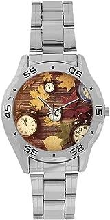 Mardi Gras Men's Stainless Steel Analog Watch,Vivid Beads Circular Frame with Lettering Traditional Patterns Print for Men,Case Diameter: 1.5