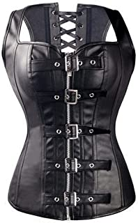 Faux Leather Corset Vest Plus Size Lingerie Buckle Lacing Steel Boned