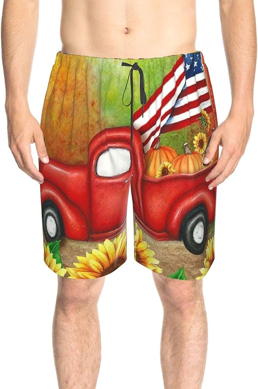 JINJUELS Men's Swim Shorts Welcome Sunflower Truck Swim Boardshorts Quick Dry Comfy Beach Swim Trunk with Lining