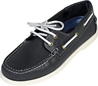 MADSea Waterside Chaussures Bateau Bleu Foncé Cuir Semelle Blanche Chaussures de Pont