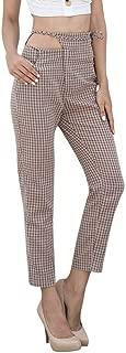 JOFOW Womens Straight Leg Pants Vichy Plaid High Hollow Waist Strappy Casual Loose Elegant Slim