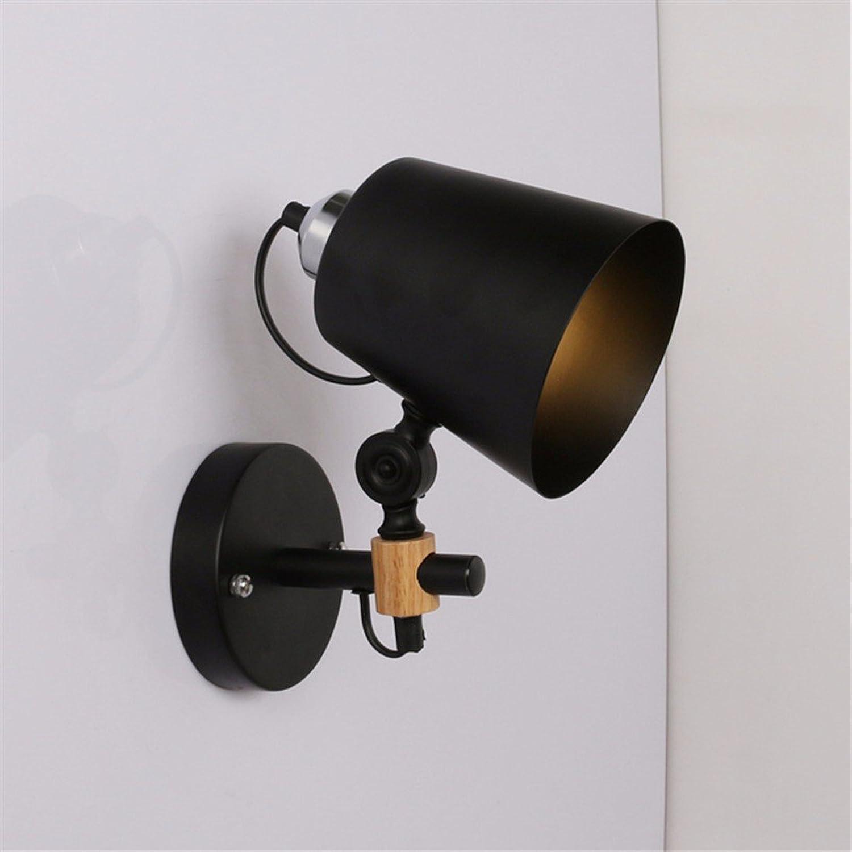 LIYAN minimalistische Wandleuchte Wandleuchte E26 E15251Kreative Wohnzimmer TV-Wand lampe Schlafzimmer Studie exquisite Kopfteil aus Holz Wand Licht, Schwarz