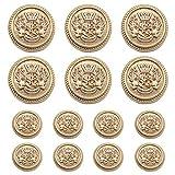 Meillia - Juego de 11 botones de metal dorado para Blazer de 15 mm, 20 mm, para Blazers, trajes, abrigos deportivos, uniformes, chaquetas