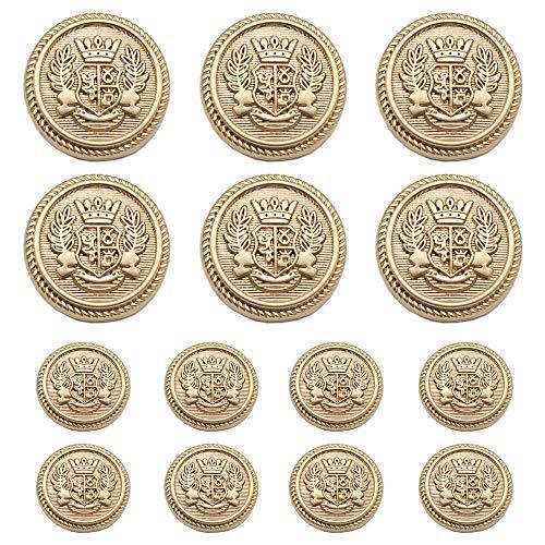 Meillia 14 Stück Kunststoff Knöpfe Gold 15mm 20mm Metallknöpfe für anzüge jacken mäntel Blazer uniform