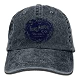 Hoswee Unisex Kappe/Baseballkappe, Vintage Ford Motor Company Detroit Retro Adjustable Travel Cotton Washed Denim Caps Natural
