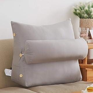 YYEWA Cojín de lectura ajustable en forma de cuña para sofá, cama, cama, cabecera tapizada con funda extraíble y lavable, color gris, L