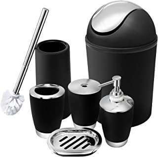 O2 Tech 6 Piece Bathroom, Plastic Ensemble Set Lotion Bottles, Toothbrush Holder, Tooth Mug, Soap Dish, Toilet Brush, Trash Can Bath Accessories, Black