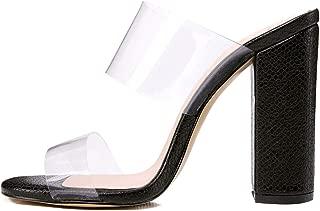 Women's Clear Open Toe Double Straps Chunky Heels Mules Snake Pattern High Heels Slip on Slide Sandals