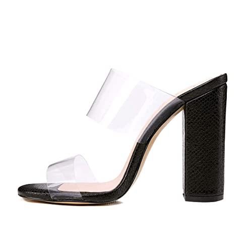 74ecb88ae18 onlymaker Women s Clear Open Toe Double Straps Chunky Heels Mules Snake  Pattern High Heels Slip on