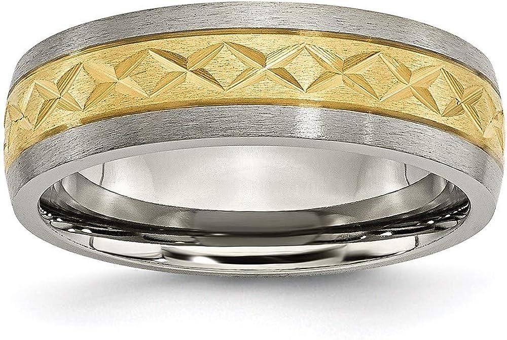 San Francisco Mall Ryan Jonathan Fine Jewelry Titanium 7mm Desi Ion Plated Yellow X Max 84% OFF