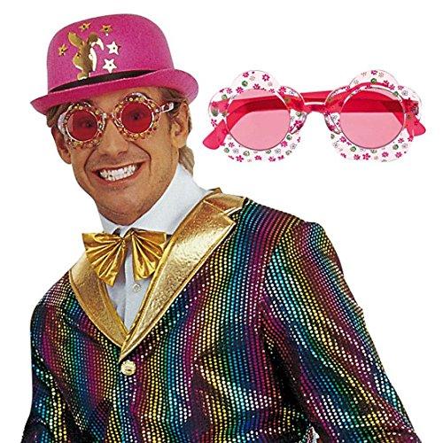 NET TOYS Lunettes de soirée Rouge Hippie Lunettes de Hippie Lunettes pour déguisement Rouge Mardi Gras Carnaval Lunettes de soirée Lunettes de Carnaval