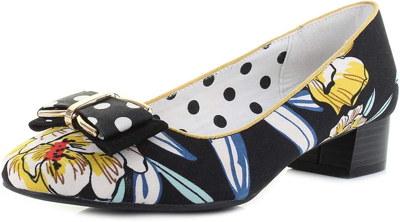 Ruby Shoo Women's June Black Floral Low Heel Ballet Pump
