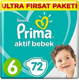 Prima Bebek Bezi Aktif Bebek 6 Beden Ekstra Large Ultra Fırsat Paketi, 72 Adet