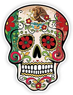 OSMdecals - Grunge Flag Detailed Mexican Sugar Skull Sticker Series 10 - Day of the Dead Retro Vintage Mexico Calavera Waterproof Car Decal Bumper Sticker