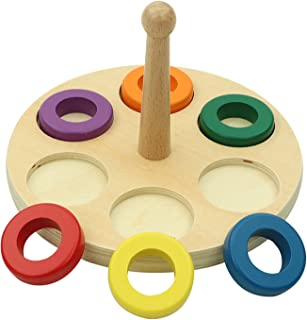 yotijay Wooden Stacking Rings Toys Geometric Building Blocks Wooden Sorting & Stacking Toy Rainbow Stacker for Educational...