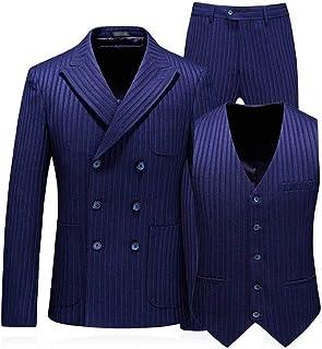Tasahaya ビジネススーツ メンズ スーツ ストライプ 3ピーススーツ テーラードジャケット スラックス ベスト 紳士服 三つボタン 結婚式 スリム 6036