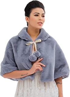 Asooll Sleeveless 1920s Wedding Fur Shawls and Wraps Blue Bridal Fur Stole Winter Cover Up Accessories for Women