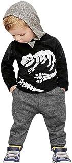 K-youth® Ropa Niños Dinosaurio Huesos patrón Camiseta con Capucha Manga Larga + Pantalones Ropa Conjunto