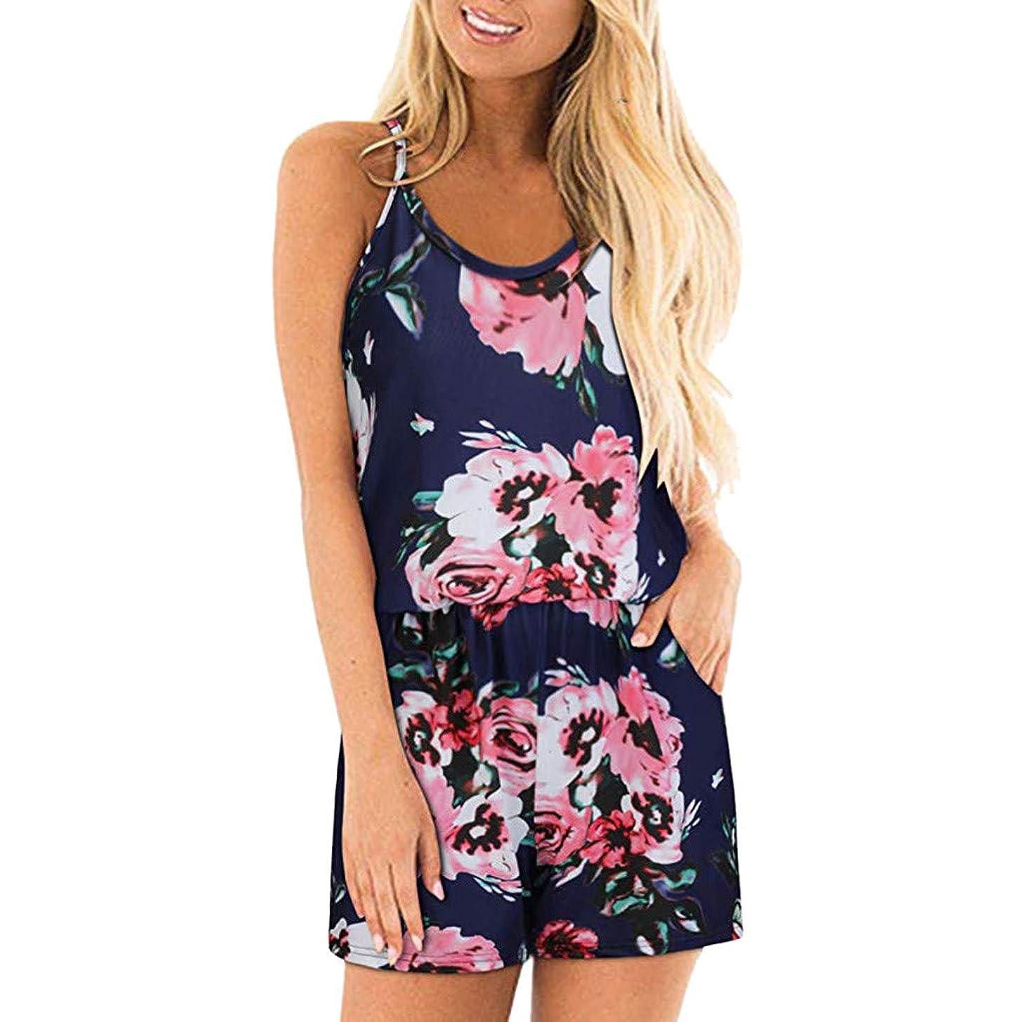Sunhusing Women's Sleeveless Off Shoulder Spaghetti Strap Print Jumpsuit Drawstring Lace-Up Shorts Romper