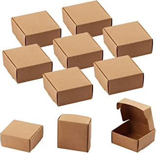 Sdootjewelry Small Gift Boxes, 100 Pcs Square Gift Boxes Brown Kraft Paper Box Decorative Treat Boxes Gift Packaging Boxes, Favor Treat Boxes - 2.16 x 2.16 x 0.98