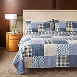 SLPR Blue Symphony 3-Piece Patchwork Cotton Bedding...