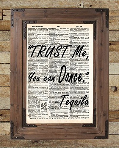 Tequila art print, Quote, word wall art, Trust me Tequila, Funny artwork, kitchen art, home bar art, Vintage book page art