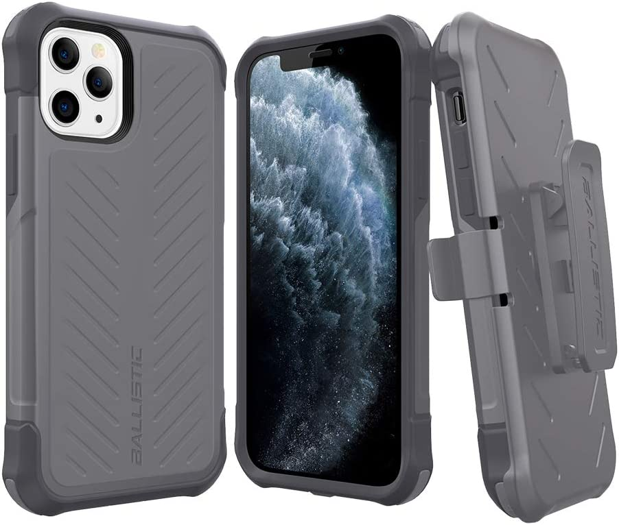 Ballistic iPhone 11 Pro Case, Military Grade Protective Holster Case with Kickstand for iPhone 11 Pro 5.8 [Tough Jacket Maxx Series] Gray