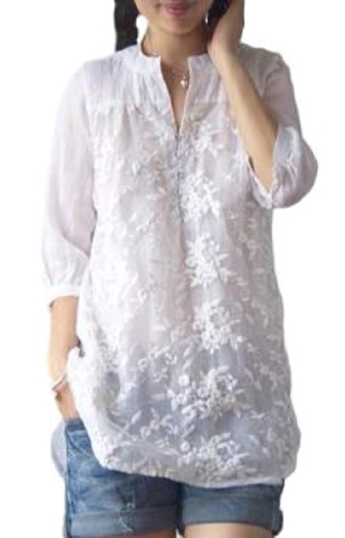 [ニブンノイチスタイル] 1/2style ホワイト 七分袖 花 フリル オフィス シャツ ブラウス レディース