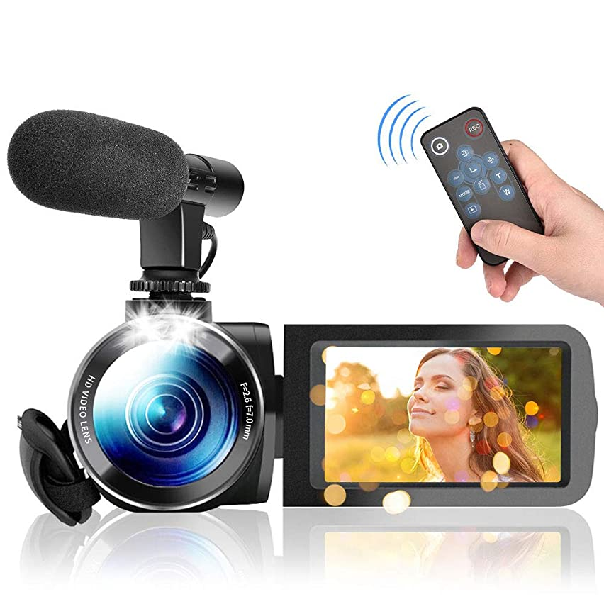 Video Camera Camcorder, Vlogging Camera HD 1080P 30FPS Digital Camera Recorder with Microphone and Remote 3.0 Inch 24MP Touch Screen 16X Digital Zoom Camera Recorder for YouTube Videos (M9FF)