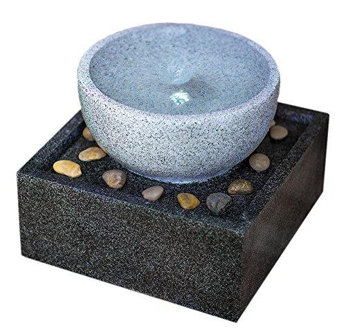 Harmony Fountains Tenaya Granite Vortex Fountain w/LED Lights: Stylish Whirlpool Water Feature. Hand-Crafted Modern Design, Adjustable Pump. HF-V01-14LT