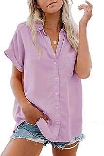 Best women's short sleeve button up blouse Reviews