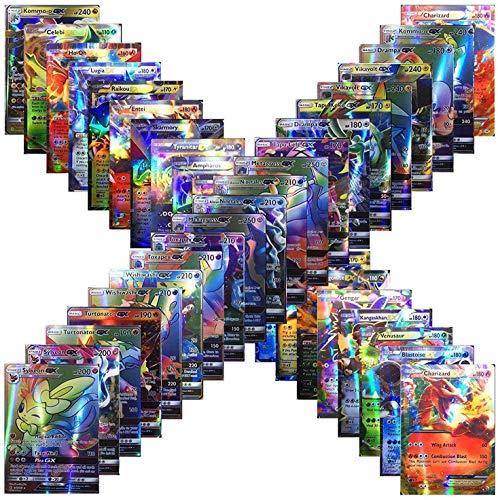 100 Assorted Poke Cards TCG Style Card Holo EX Full Art : 20 GX + 20 Mega + 1 Energy + 59 EX Arts Includes Perfect Box! (Multi)